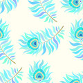 Colorful peacock feathers. Seamless vector pattern. Royalty Free Stock Photo