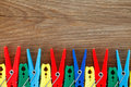 Colorful peg on wooden board Stock Photo