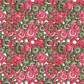 Colorful penball hand drawing seamless pattern with red, green wooden flowers and circles on white isolated background.