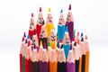 Colorful pencil as people smiling faces image concept for social networking communication concept rise from the crowd Stock Photography