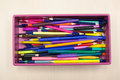 Colorful pencil box Stock Images