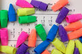Colorful pencil erasers bright colored on math paper Stock Image