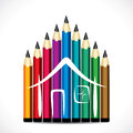 Colorful pencil home design stock vector Royalty Free Stock Image