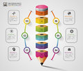 Colorful pencil Infographics step option. Modern design template. Vector illustration Royalty Free Stock Photo