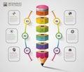 Colorful pencil Infographics step option. Modern design template. Vector illustration