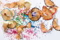 Colorful pencil shavings Royalty Free Stock Photo