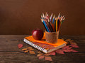 Colorful pencils, apple  and  dry autumn leaves. Royalty Free Stock Photo