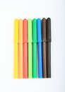 Colorful pencils as rainbow on white background Royalty Free Stock Photography