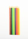 Colorful pencils as rainbow on white background Royalty Free Stock Image