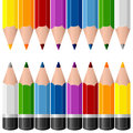 Colorful pencils borders two isolated on white background useful as design elements or banners eps file available Stock Photos