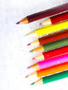 Colorful pencils and bubbles Royalty Free Stock Photo