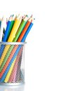Colorful pencils in container isolated time to school on white background with space for text Royalty Free Stock Photography
