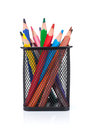 Colorful pencils in holder Royalty Free Stock Photo