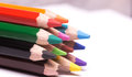 Colorful pencils many on a white background Stock Image