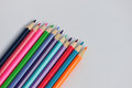 Colorful pencils many with the white background Royalty Free Stock Photo