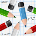 Colorful pencils seamless pattern a with on a school sheet background useful also as design element for texture or gift Stock Photography