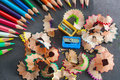 Colorful pencils and trash Royalty Free Stock Photo