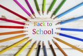 Back to School Text and Set of Pencils Royalty Free Stock Photo