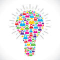 Colorful people make bulb Royalty Free Stock Images