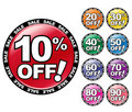 Colorful Percent OFF Icons Stock Photo