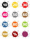 Colorful percentage sign blots as buttons with Stock Image
