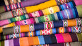 Colorful peruvian alpaca wool textiles multi colored from the andes Royalty Free Stock Photo