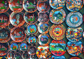 Colorful peruvian handcrafted plates decorative traditional andean designs Royalty Free Stock Image