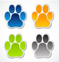 Colorful pets dogs cats paw prints web buttons logos isolated white background Stock Image