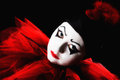 Colorful pierrot isolated against a black background with a vibrant red collar Royalty Free Stock Photography
