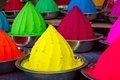 Colorful piles of powdered dyes used for holi festival in india Royalty Free Stock Photography