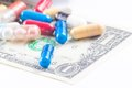 Colorful pills on american dollar, cost of medical health care