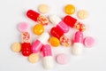 Colorful pills close up on white background Royalty Free Stock Image