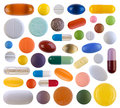 Colorful pills isolated on white background Stock Images
