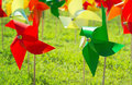 Colorful pinwheel on grass Royalty Free Stock Photo