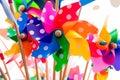 Colorful pinwheels against white background Royalty Free Stock Photo