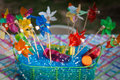 Colorful Pinwheels in a Basket Royalty Free Stock Photo