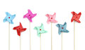 Colorful pinwheels on white background Royalty Free Stock Photo