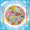 Colorful planet of cute food Royalty Free Stock Photo