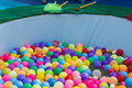 Colorful plastic ball floating on water in the pool for games Royalty Free Stock Images