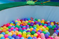 Colorful plastic ball floating on water in the pool for games Royalty Free Stock Image