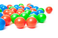 Colorful plastic balls all on white background Royalty Free Stock Images