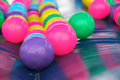 Colorful plastic balls close up for children to play soft focus Stock Photography