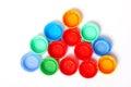Colorful plastic bottle lids Stock Photo
