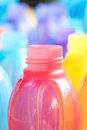 Colorful of plastic bottle stack vertical form Stock Image