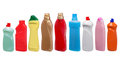 Colorful plastic bottles of cleaning products on white Royalty Free Stock Images