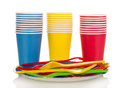Colorful plastic cups and forks isolated on white Royalty Free Stock Photo