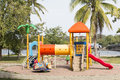 Colorful plastic playground in the public park Royalty Free Stock Image