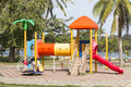 Colorful plastic playground in the public park Stock Images