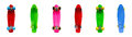 Colorful plastic skateboards isolated