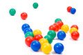 Colorful plastic toy balls on white background Royalty Free Stock Images